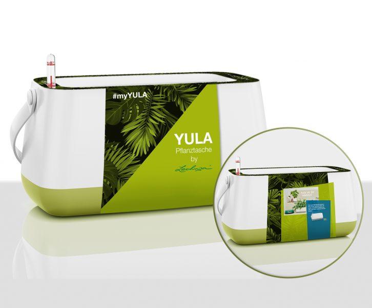 Verpackungsdesign YULA Pflanztasche grün