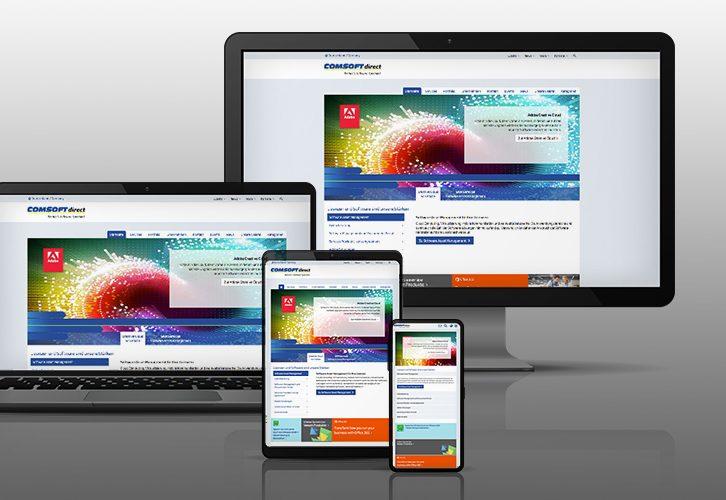 Mockup responsive Webdesign Comsoft direct