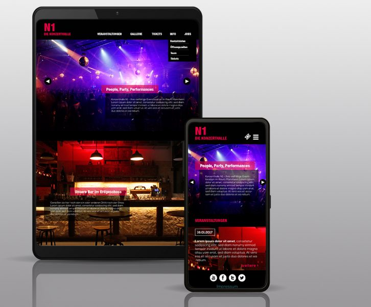 Mockup Webdesign Konzerthalle N1