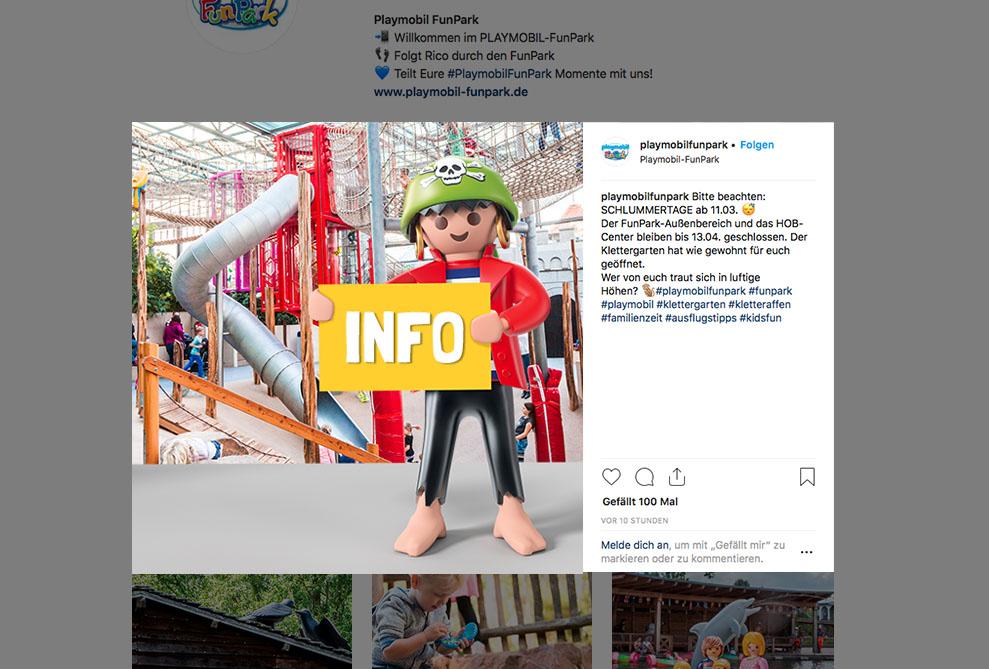 Beispielpost für den PLAYMOBIL-FunPark-Instagramauftritt